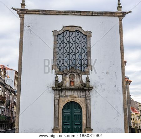 Small Tailors Chapel (known as Our Lady of August chapel) in Porto Portugal