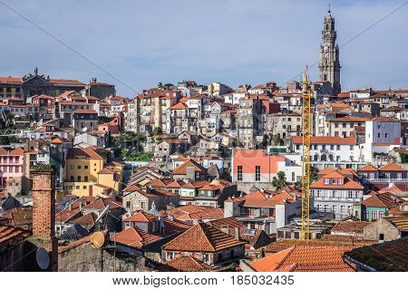 Porto cityscape with famous bell tower of Clerigos Church Portugal