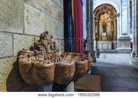 stoup in Se Cathedral in Porto city in Portugal