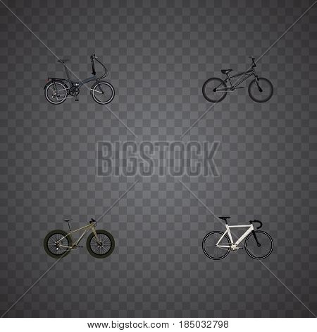 Realistic Folding Sport-Cycle, Extreme Biking, Bmx And Other Vector Elements. Set Of Sport Realistic Symbols Also Includes Extreme, Folding, Bicycle Objects.