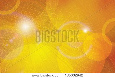 Golden futuristic astral abstract vector background template. Orange yellow decoration horizontal layout.