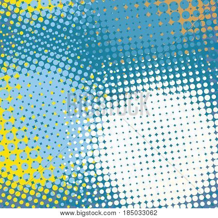 Dots blue yellow white abstract template. Halftone color vector background.