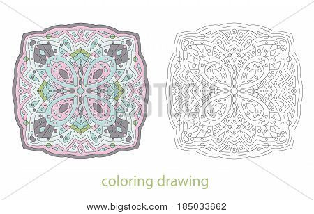 Coloring drawing template mandala oriental stylized vector illustration. Decorative abstract anti stress fantasy pattern.