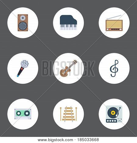 Flat Musical Instrument, Octave Keyboard, Radio And Other Vector Elements. Set Of Melody Flat Symbols Also Includes Studio, Vinyl, Acoustic Objects.