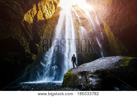 Perfect view of famous powerful Gljufrabui cascade in sunlight. Dramatic and gorgeous scene. Unique place on earth. Location place Iceland, sightseeing Europe. Explore the world's beauty and wildlife
