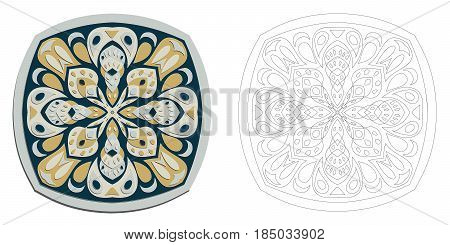 Floral mandala oriental motif creative fantasy vector illustration. Primitive anti stress coloring drawing. East inspiration colorful mosaic.