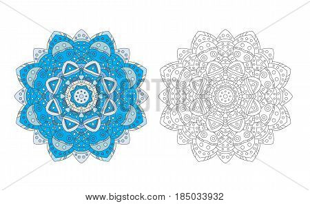 Mandala zentangle coloring page antistress adult drawing absract flower pattern. Vector illustration. Relax drawing template.