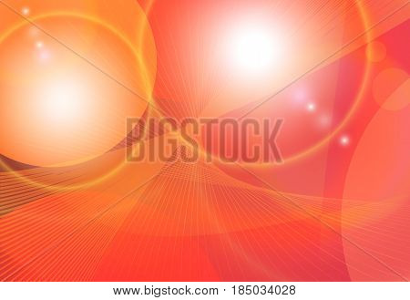 Bright orange red colorful abstract fantasy background. Futuristic space light shining vector brochure template. Wave flow digital pattern.