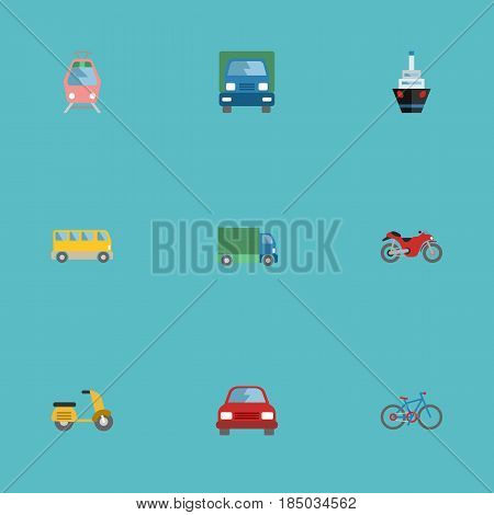 Flat Omnibus, Motorbike, Boat And Other Vector Elements. Set Of Auto Flat Symbols Also Includes Tramcar, Scooter, Motorcycle Objects.