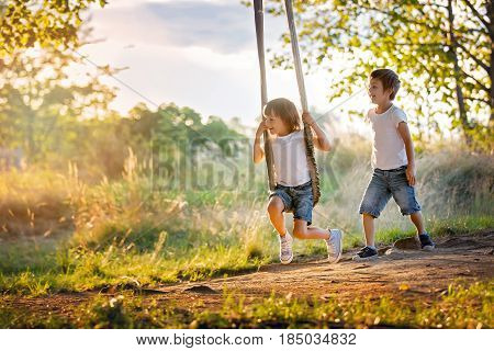 Two Children, Boy Brothers, Having Fun On A Swing In The Backyard