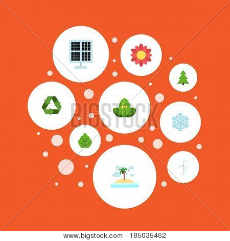Flat Conservation, Foliage, Eco Energy And Other Vector Elements. Set Of Green Flat Symbols Also Includes Wind, Snowflake, Conservation Objects.