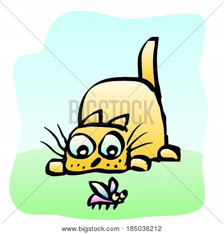 cute yellow cat preys on the beetle. vector illustration. cheerful pet and funny bug