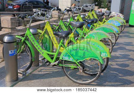 SUZHOU CHINA - NOVEMBER 16, 2016: Bicycle share rent scheme. Bicycle share scheme is ran by Suzhou City.