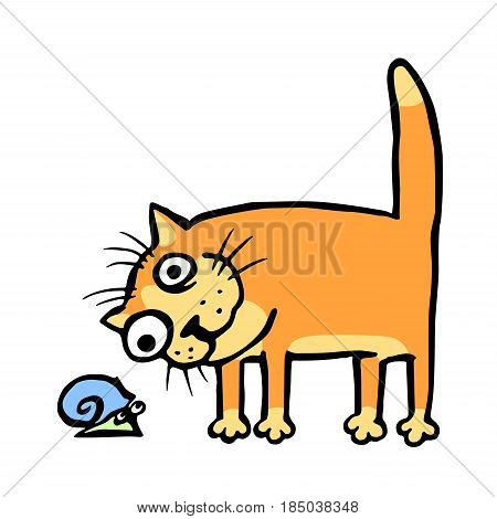 Cat watching the snail. Vector illustration. Cheerful pet and funny slug.