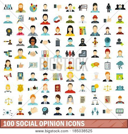 100 social opinion icons set in flat style for any design vector illustration