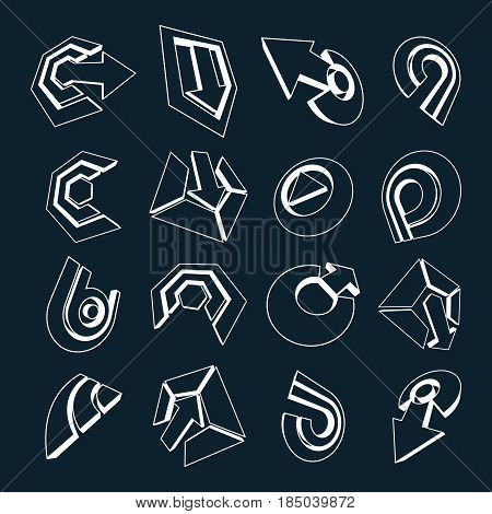 3D Vector Monochrome Abstract Shapes, Different Business Icons And Design Elements Collection. Geome
