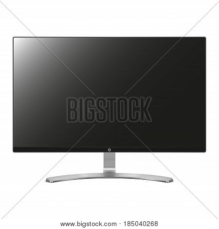 Computer screen, monitor, display isolated on white. PC, modern digital computer vector illustration