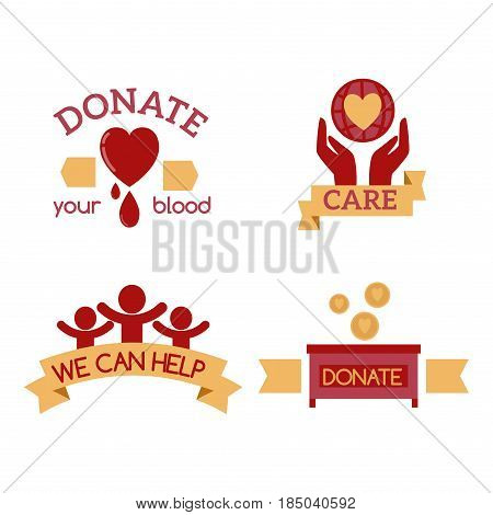 Volunteer red icons charity donation vector set humanitarian awareness hand hope aid support and assistance care service human symbols. Trust social rescue helping ribbon.