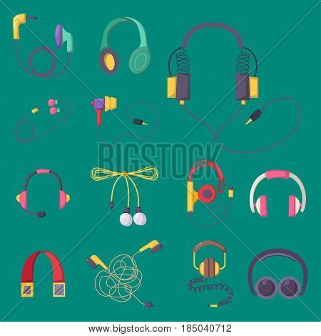 Headphones vector set music technology accessory studio sound design collection dj speaker equipment small element volume. Aarphone electrical mobility headset graphic.