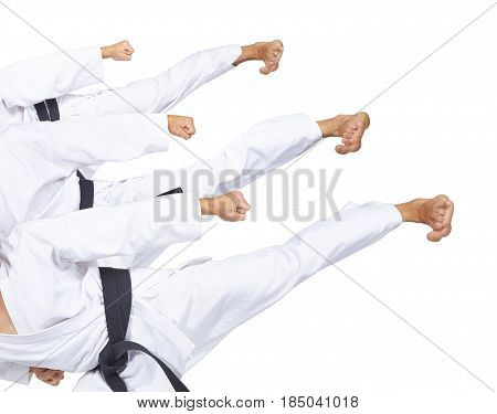 An athlete with a black belt is beating three high kick collage