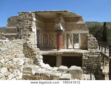 The Ancient Palace and Archaeological Site of Knossos, Heraklion, Crete Island of Greece