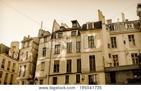 Typical appartment building in Paris, France. Horizontal image