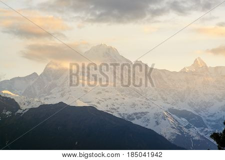 Chaukhamba peaks during sunrise from Deoria Tal lake, India
