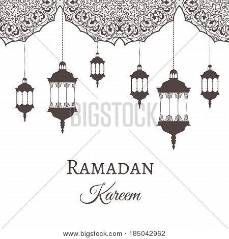 Ramadan Kareem Greeting Background Template Arabic Design Patterns And Lanterns, Arabic Lamp For Pro