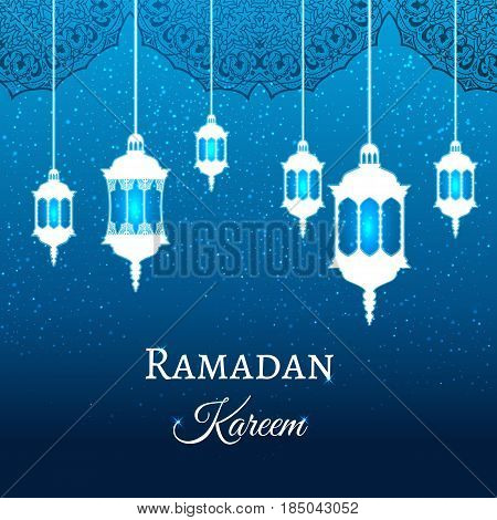 Ramadan Kareem Greeting Blue Evening Background Arabic Design Patterns And Lanterns, Arabic Lamp For