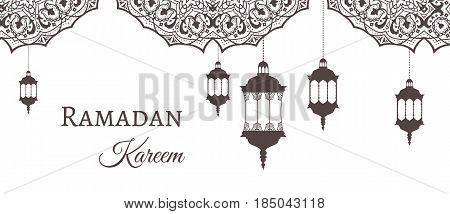 Ramadan Kareem Greeting Background Template Arabic Design Patterns And Lanterns, Arabic Lamp For Pro