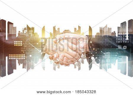 Double exposure of business handshake, Mixed media