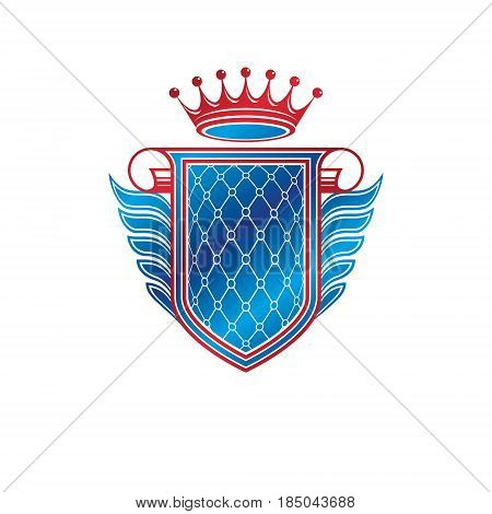 Heraldic coat of arms decorative emblem with copy space and cartouche. Winged protection shield emblem created with imperial crown isolated vector illustration.