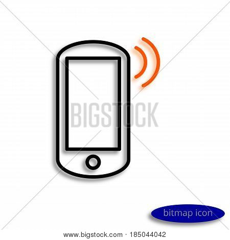 Smartphone With Orange Sound Casting Shadow, Graphic Bitmap Linear Icon