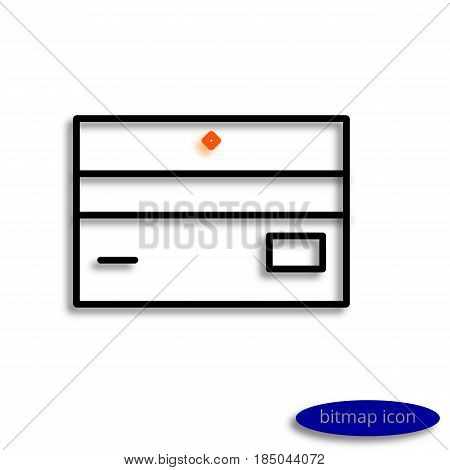 A Business Card Or A Bank Card Drawn By Lines Casting A Shadow, A Graphic Bitmap Line Icon