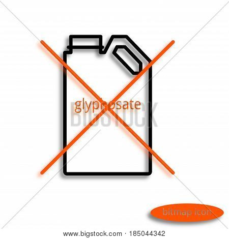 A Simple Raster Line Image Of A Can With Glyphosate Crossed With An Orange Cross, A Linear Icon For
