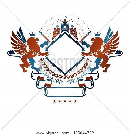 Graphic winged emblem with Brave Lion King and medieval castle. Heraldic Coat of Arms decorative logo isolated vector illustration.