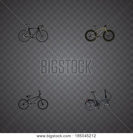 Realistic Extreme Biking, Folding Sport-Cycle, Bmx And Other Vector Elements. Set Of Bike Realistic Symbols Also Includes Road, Bike, Folding Objects.