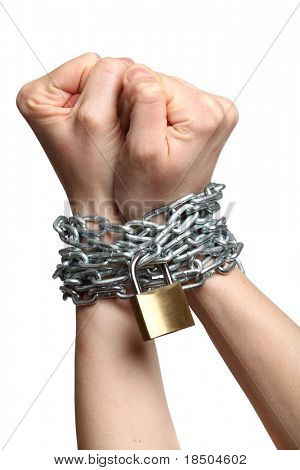 Chained - isolated on a white background