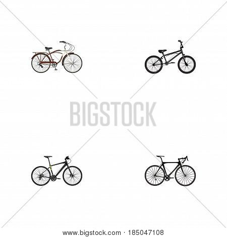 Realistic Extreme Biking, Exercise Riding, Journey Bike And Other Vector Elements. Set Of Sport Realistic Symbols Also Includes Bmx, Hybrid, Road Objects.