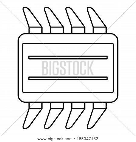 CPU icon in outline style isolated vector illustration