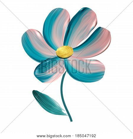 Flower panted brush vector isolated illustration. Bio and organic cosmetic concept.