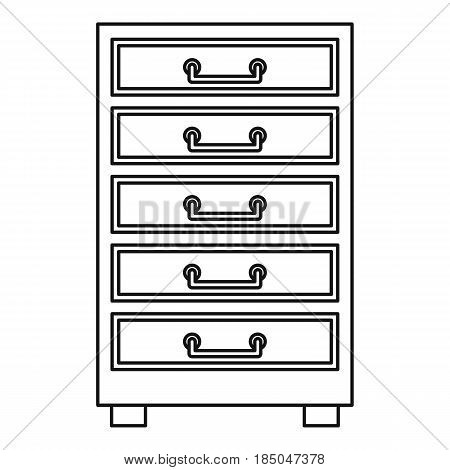 Wooden cabinet with drawers icon in outline style isolated vector illustration