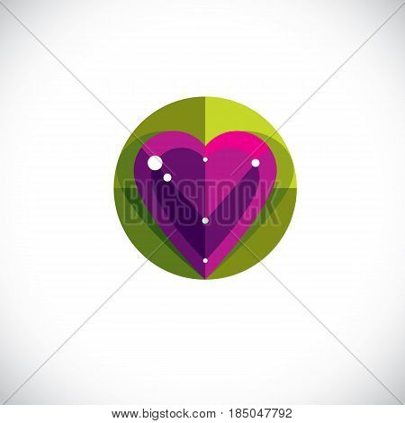 Vector Illustration Of Elegant Love Heart Isolated. Valentine Day Theme Artistic Graphic Design Elem