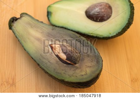 Half The Spoiled And Good Avocado. Comparison Of Opposites.