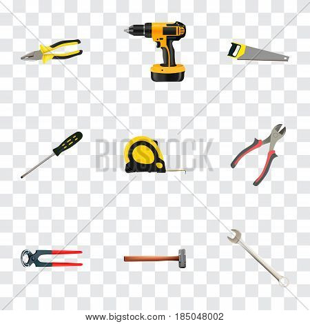 Realistic Carpenter, Spanner, Forceps And Other Vector Elements. Set Of Kit Realistic Symbols Also Includes Pliers, Tool, Measure Objects.