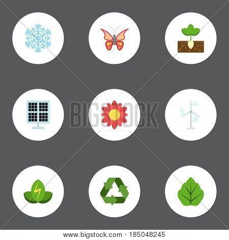 Flat Sun Power, Foliage, Electric Mill And Other Vector Elements. Set Of Green Flat Symbols Also Includes Flower, Photocell, Reuse Objects.