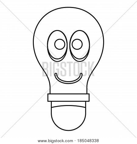 Smiling light bulb with eyes icon in outline style isolated vector illustration