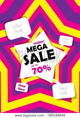 mega sale banner design using colorful star