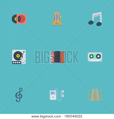 Flat Musical Instrument, Mp3 Player, Retro Disc And Other Vector Elements. Set Of Music Flat Symbols Also Includes Harmonica, Instrument, Music Objects.