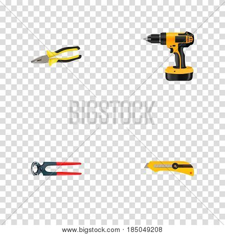 Realistic Electric Screwdriver, Stationery Knife, Tongs And Other Vector Elements. Set Of Kit Realistic Symbols Also Includes Tongs, Pincers, Electric Screwdriver Objects.